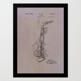 Tenor saxophone patent Art Print