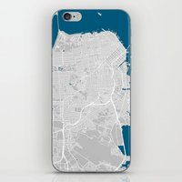 san francisco map iPhone & iPod Skins featuring San Francisco city map grey colour by MCartography