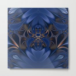 Blue and Gold Camouflaged Spider Metal Print