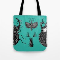 insects Tote Bags featuring Insects by Rebexi