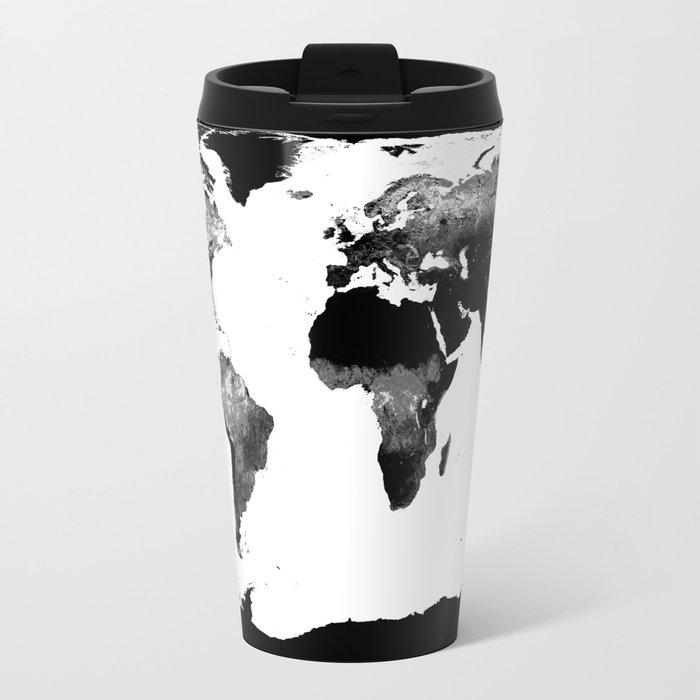 World Map  Black & White Metal Travel Mug