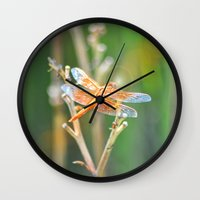 dragonfly Wall Clocks featuring Dragonfly by Lisa Argyropoulos
