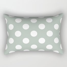 Ash gray - grey - White Polka Dots - Pois Pattern Rectangular Pillow