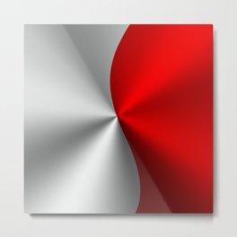 Metallic Red & Silver Geometric Design Metal Print