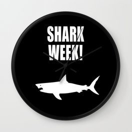 Shark Week, white text on black Wall Clock