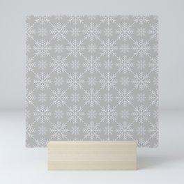 Snowflakes on Gray Mini Art Print