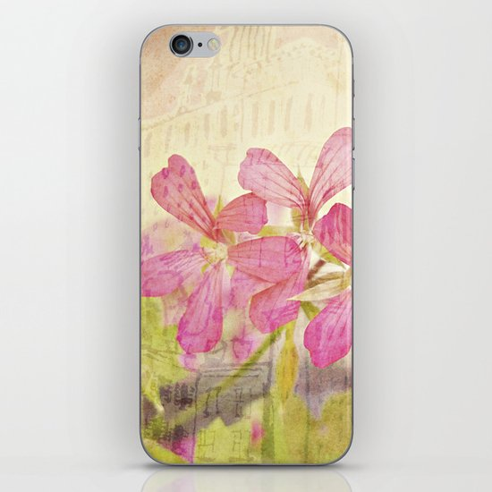 Vintage Whimsical Watermelon Pink Summer Geraniums in the City Montage Collage _  très chic iPhone & iPod Skin