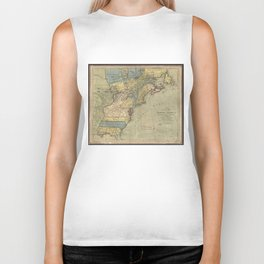 Vintage Discovery Map of The Americas (1771) Biker Tank