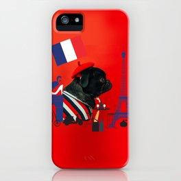 Proud Pug from Paris iPhone Case