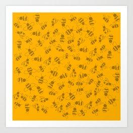 Light Busy Bees Art Print