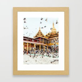 Pigeons descend on Buddhist Temple in Burma Fine Art Print Framed Art Print