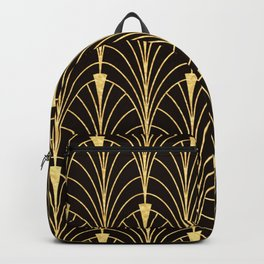 Sophisticated Glitzy Gold Art Deco Pattern Backpack