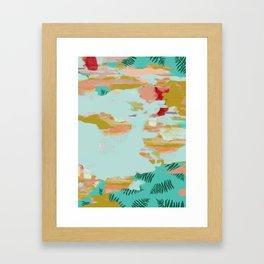 Seafoam Fern Collage Framed Art Print
