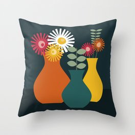Flower Vases on Dark Background Throw Pillow