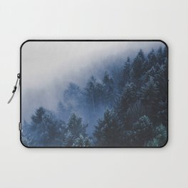 Foggy Blue Purple Mountain hill Pine Trees Landscape Nature Photography Minimalist Modern Art Laptop Sleeve
