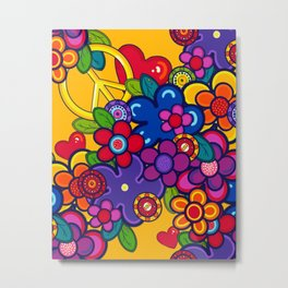 Peace, Love and flowers Metal Print