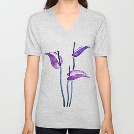 three purple flamingo flowers Unisex V-Neck