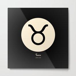 Taurus Symbol Black Metal Print