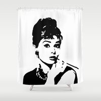 tote bag Shower Curtains featuring Audrey Hepburn, Actress, Film Star, Hollywood, Art, Clothing,   by MONOFACES