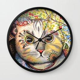 Smokey ... abstract cat art animal pet painting Wall Clock