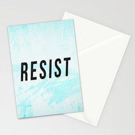 RESIST 1.0 - Black on Teal #resistance Stationery Cards