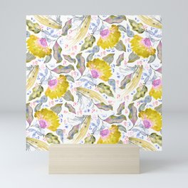 Lovelies - yellow & pink Flower pattern Mini Art Print
