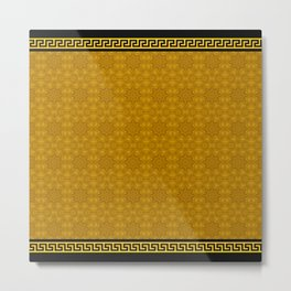 Greek Key - 2 Golden Metal Print