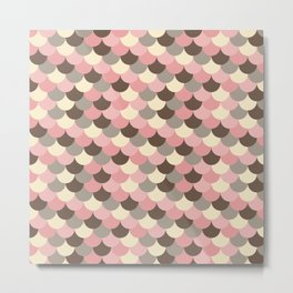 Strawberry Mouse Fish Scale Pattern Metal Print