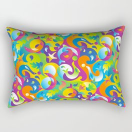 Dolphins, Seals and Sea Life in Tropical Ocean Waves Rectangular Pillow