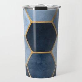 Winter Palace / blue and gold geometric design Travel Mug