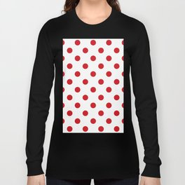 Polka Dots - Fire Engine Red on White Long Sleeve T-shirt