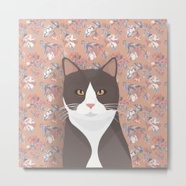 Gray Tuxedo Cat and Flowers Metal Print