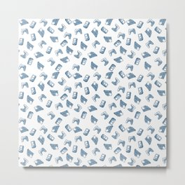 Arcade in White and Blue Metal Print