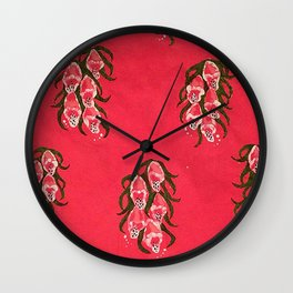 Foxgloves in Red Wall Clock