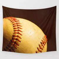 baseball Wall Tapestries featuring Baseball by Janice Sullivan