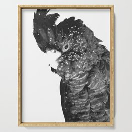 Black and White Cockatoo Illustration Serving Tray