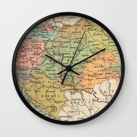 vintage map Wall Clocks featuring Vintage Map by littlehomesteadco