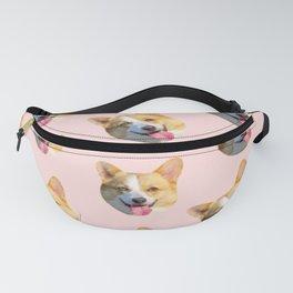 pink pattern puppy dog corgi Fanny Pack