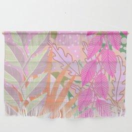 Modern Jungle Plants - Pink Green Purple Wall Hanging