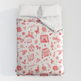 Cozy Hygge Elements in Red + White Comforters