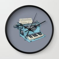 teal Wall Clocks featuring The Composition. by Matt Leyen