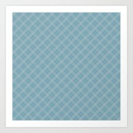 Christmas Icy Blue Velvet Diagonal Tartan Check Plaid Art Print