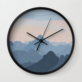 Pastel Sunset over Blue Mountains Wall Clock