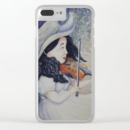Woman's Autumnal Twilight Serenade,violin in the forest, watercolor painting Clear iPhone Case
