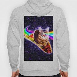 Rainbow Laser Eyes Galaxy Cat Riding Taco Hoody