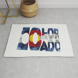 Colorado Typographic Flag Map Art Rug