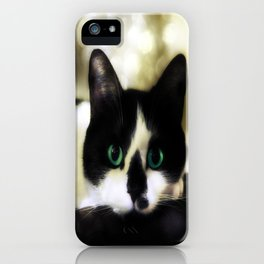 The Tuxedo with the Green Cat Eyes iPhone Case