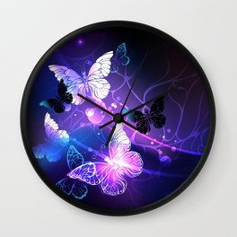 Background with Night Butterflies Wall Clock