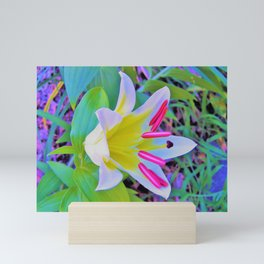 Beautiful White Trumpet Lily with Yellow Center Mini Art Print