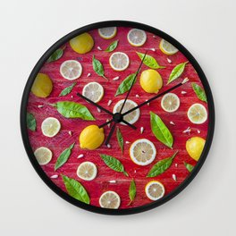Fruits and leaves pattern (34) Wall Clock